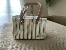 "American Girl large stripe market tote bag 18"" doll NEW"