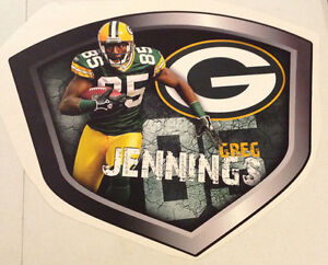 """Greg Jennings FATHEAD Player Shield 23"""" x 18"""" Official Wall Graphics PACKERS"""
