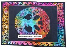 Psychedlic Rainbow Tree of Life Celtic Patterns Cotton Wall Tapestry 40X28 inch