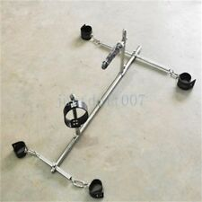 Slave Play Rack Steel frame Spreader Bar Leather Collar Restraint cuffs Lockable
