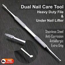 Heavy Duty Nail File & Under Nail Lifter. Dual Nail Care Tool in Stainless Steel