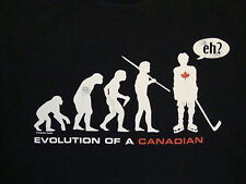 Evolution of Canadian Canada Humor Funny Comedy Evolve HOCKEY Black T Shirt XL