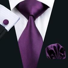 Top Solid Men's Silk Tie Cufflinks Handkerchief Jacquard Plain Wedding Tie Set