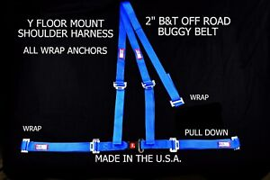 """RJS RACING 2"""" BUGGY OFF ROAD SEAT BELT 3 POINT B&T Y HARNESS BLUE SAND RAIL"""