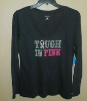 Columbia Womens Large Shirt Tested Tough In Pink Ribbon New Black V-Neck