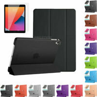 "Smart Stand Case Cover With Tempered Glass For Apple iPad 8th Gen 10.2"" (2020)"