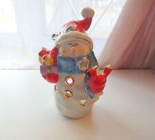 Retired Holiday Snowmen w Christmas Gifts & Bird Cardinal Stars Tea Light Holder