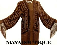 Flapper Fringe Jacket Silk Burnout Velvet Chocolate Brown Short Maya Matazaro
