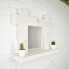 Mirror Shelf - Crossed Ends Chunky Wood - Handmade