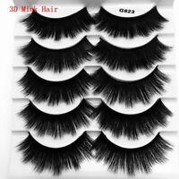 SKONHED New 5 Pairs 3D Mink Hair False Eyelashes Thick Long Natural Wispy Lashes