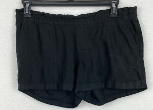 Old Navy Womens Med Linen Cuffed Pullon Black Shorts