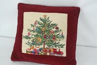 VINTAGE COMPLETED CHRISTMAS TREE w GIFTS NEEDLEPOINT FINISHED TAPESTRY PILLOW