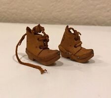 Antique Vintage TINY wood leather work boots Hand Carved Collectible
