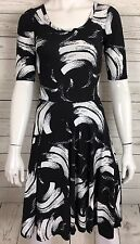 Lularoe Nicole Dress Sz XXS Black White Paint Brush Stroke Print