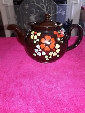 Vintage Hand Painted Floral Alcock Lindley & Bloore Brown Betty Teapot England