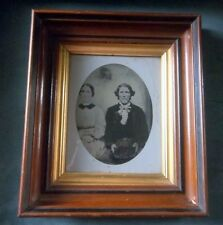 AMAZING DEEP Walnut Picture Frame Gold Insert + LARGE Tin Type Victorian Photo
