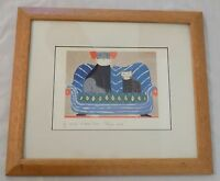 Framed & Matted Laura Fiume Lithograph Print - Dog & Cat on Sofa - Signed