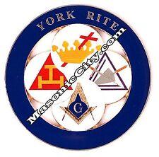 Z-50 Blue York Rite Masonic Auto Emblem FreeMasonry Car Lodge Mason PHA