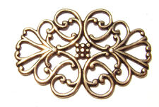 1936 Antiqued Brass Sterling Silver Filigree Oval Centerpiece Component Charm