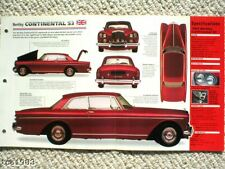 Bentley Continental S3 Spec Foglio/Brochure: 1962,1963