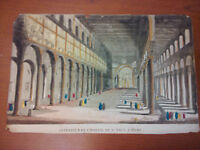 Hand colored engraving St Paul's Rome interior ca1800