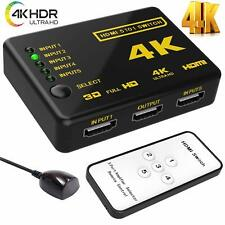 5 Port HDMI 4K Switch Switcher Selector Splitter Hub iR Remote For HDTV 3840p UK
