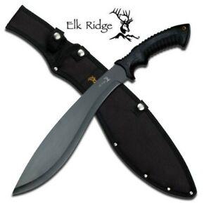 "19.5"" ELK RIDGE ER-523B KUKRI MACHETE W/ BLACK DOUBLE INJECTION HANDLE + SHEATH"