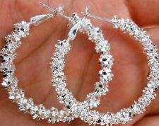 Crystal Medium Size Hoop Earrings Womens 925 Sterling Silver Elegant