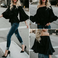 Fashion Women's Casual loose Long Flare Sleeve Off shoulder Blouse Tops T-shirt