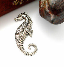 ANTIQUE SILVER Large SEAHORSE Stampings - Jewelry Oxidized Findings (E-19)