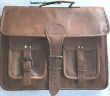"18"" Men Genuine Vintage computer Reusable Leather Messenger Shoulder Laptop Bag"