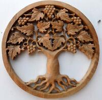 pannello albero della vita in legno massello traforato a mano cm 30x2 naturale