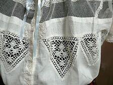 1880-90 Antique Corset Cover Camisole Chemise Cotton Tulle & Lace M to L