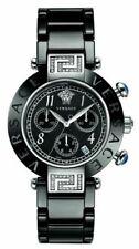 Versace Women's Reve 95CCS91D008 S009 Black Ceramic Chronograph DIAMONDS Watch