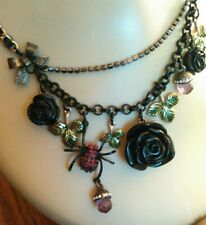 Betsey Johnson Black Rose Spider Necklace Retired Gothic Dark Forest Collection