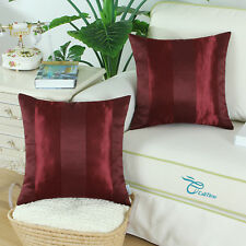 "2pcs Burgundy Throw Pillow Cover Reversible Jacquard Striped Sofa Decor 18""x18"""