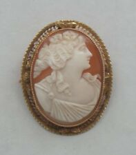 Antique SHELL Cameo Brooch / Pendant,14K Yellow Gold Mounting, c. 1910