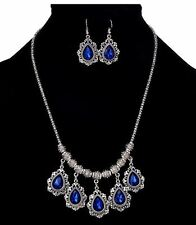 SILVER TONE CHAIN WITH DROP ROYAL BLUE DROP CHARMS NECKLACE SET