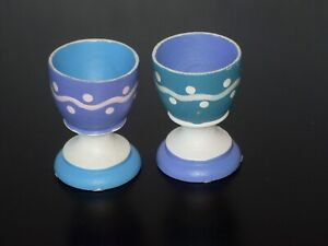 2 Painted Wooden Egg Cups ~ Wang's International barcodes on bottom