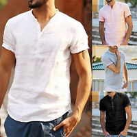 Men Summer Linen Short Sleeve Shirt Tee Loose Casual V Neck T Shirts Blouse Tops