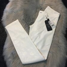 NWT Guess Brittney Skinny Slim Fit Medium Rise White Snake Pants Size 25