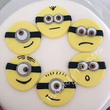 6 Edible Minion Style Cupcake Toppers Cake Decorations Birthday Sugar Fondant