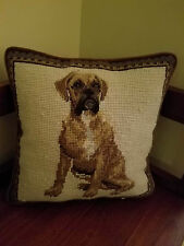"10"" Sq Boxer Dog Pillow Elegant Decor Heirloom Needlepoint Collection"