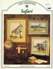 JCS SAFARI Pattern Leaflet 183 for Counted Cross Stitch Giraffe Zebra Elephant