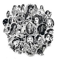 68Pcs Black&White Cool Tattoo Girls Stickers For Laptop Luggage Fridge Car Decal