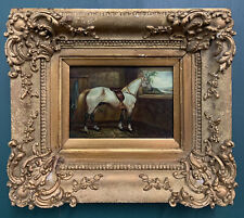 Antique Horse Equestrian Oil On Board Painting In Gold Gilt Frame, Signed