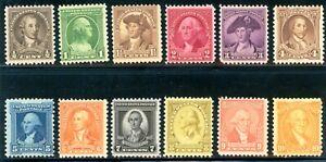 USAstamps Unused FVF US 1932 Washington Bicentennial Set Scott 704-715 OG MNH