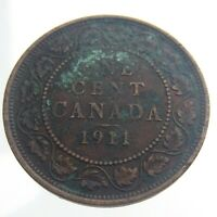 1911 Canada One 1 Cent Large Penny Bronze Circulated KM 15 George V Coin T903