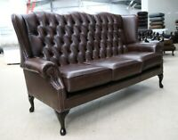 CHESTERFIELD BLOOMSBURY 3 SEATER QUEEN ANNE WING SOFA VINTAGE BROWN LEATHER