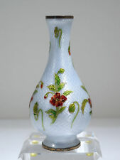 French Art Nouveau Limoges Guilloche Enamel & Sterling Vase Flower Motif C. 1900